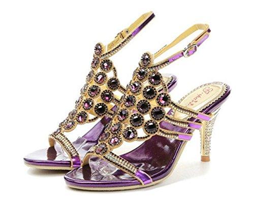 42 Sandales Crystal NVXIE chaton Glitter Mariage pour Taille Strass Chaussures Banquet femmes purple Pompes de de nuit Mariée Diamond Soirée Robe 35 Talon à Boîte Uwrgtqwpx