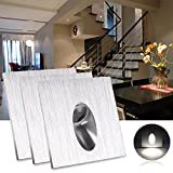 LED Recessed Wall Lamp, ALLOMN 3 Pack Square Recessed LED Step Stairs Lamp Porch Pathway light 1W Basement Bulb AC 100-245V (Cool White)