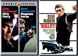 Bullitt & Dirty Harry + Magnum Force DVD Action Pack 3 Movie Set Clint Eastwood & Steve McQueen