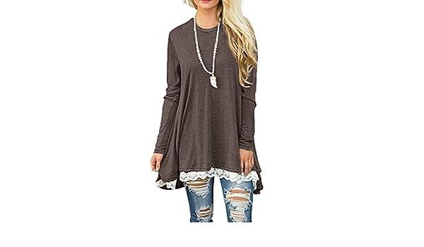 Mujer Otoño Nuevas Moda Rayas Cuello redondo Lace Encaje manga larga Casual Suelto blusa T-Shirt Tops Camisas Vestidos: Amazon.es: Ropa y accesorios