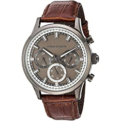 Vince Camuto Men's VC/1089DGDG Multi-Function Dial Brown Croco-Grain Leather Strap Watch