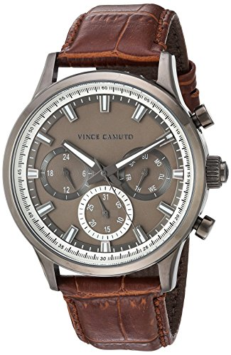 Croco Brown Grain (Vince Camuto Men's VC/1089DGDG Multi-Function Dial Brown Croco-Grain Leather Strap Watch)