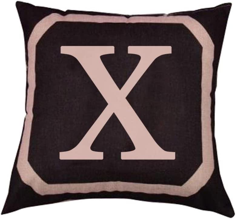 Alphabet Letter Print Linen Throw Pillow Case Waist Cushion Cover Bed Sofa Decor