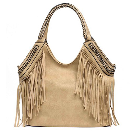 Leather Messenger Vegan Fringe MUSTARD Handle Hobo Bags Easygill Chain Bag Tote Handbag Women xA0ZwnvT8X