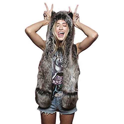Animal Hood Faux Fur Hat with Scarfs Mittens Ears and Paws 3 in 1 Soft Warm Winter Headwear (Grey Wolf)
