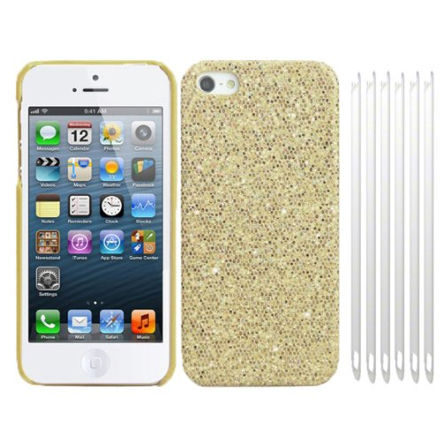 RT-TRADING Apple iPhone 5 5G Glitter Bling Glitzer Strass Hülle Hard Case Cover in Gold + 6x Folie