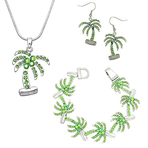 Lola Bella Gifts Crystal Palm Tree Necklace Earrings and Bracelet Set w Gift Box ()