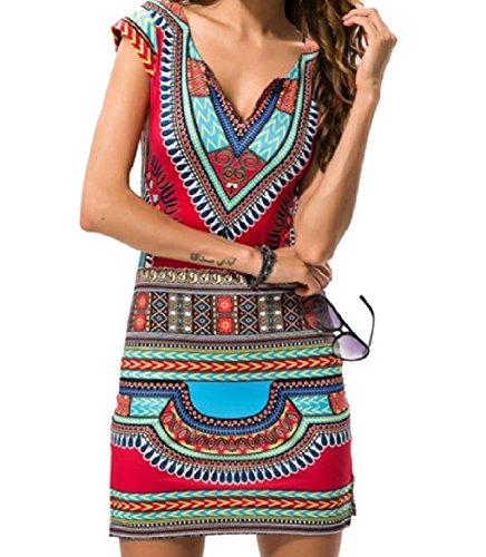 Sexy Azteca Maniche A Mini Come V Scollo donne Africano Abito Stampa Coolred Tribale Senza Immagine HZzwY5ppq