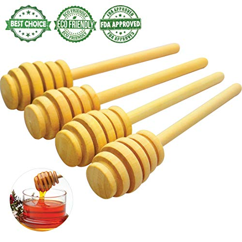 Handmade Wooden Honey Dipper Sticks by BIBI HONEY – 4 Inch Wooden Syrup Dippers – Honeycomb Sticks Perfect for Drizzling Honey | Maple Syrup | Chocolate | Caramel | and More – 4 Pack