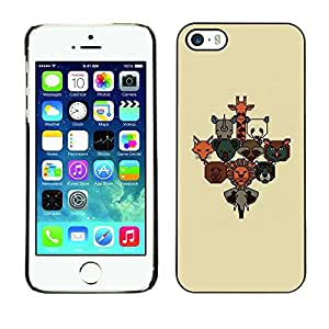 Plastic Shell Protective Case Cover || Apple iPhone 5 / 5S || Animal Poster Brown Beige Cute @XPTECH