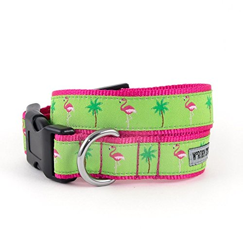 (The Worthy Dog   Pink Flamingo and Plam Tree  Adjustable Designer Pet Dog Collar , Green , M)