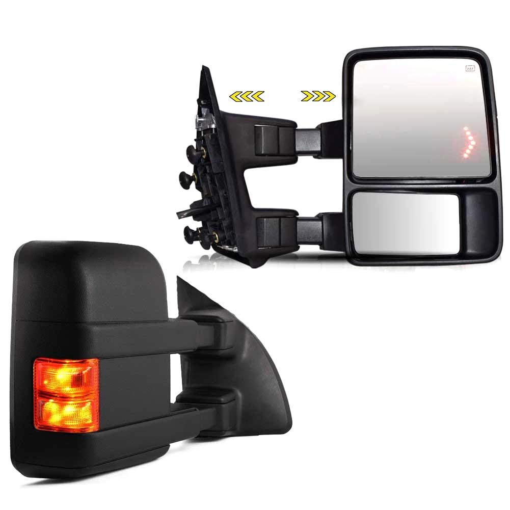 FOR 99-07 FORD SUPER-DUTY POWER+SMOKE SIGNAL LED CHROME TOWING SIDE MIRROR PAIR