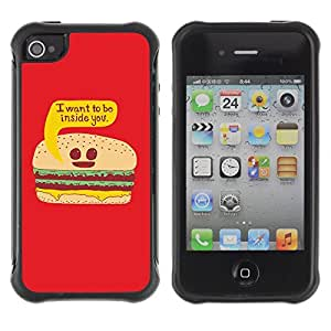 Hybrid Anti-Shock Defend Case for Apple iPhone 4 4S / Burger