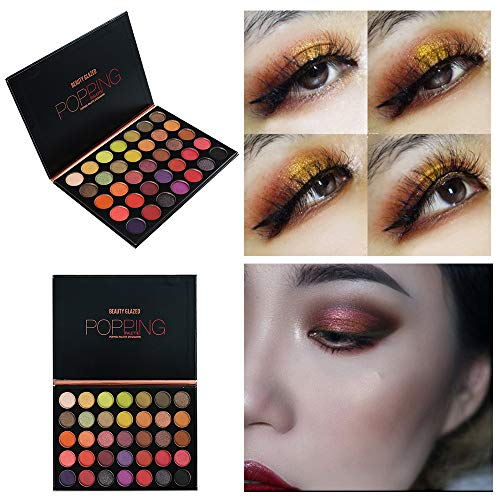 Beauty Glazed Poping Palette Supper Pigmented Shimmer and Matte Eyeshadow Palette 35 Colors Professional and Home Make up Eye Shadow Palette Blendable Eye Makeup