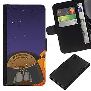 Planetar® Modelo colorido cuero carpeta tirón caso cubierta piel Holster Funda protección Para Sony Xperia Z1 / L39h / C6902 / C6903 ( Lol Funny Space Monster )