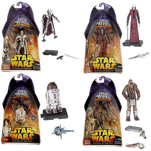 - Army Builder Revenge of The Sith Star Wars Episode III Sneak Preview 2005 Complete 4pc Action Figure Set (Includes General Grievous, Wookie Warrior, R4-G9 & Tion Medon)