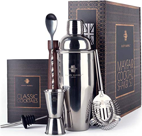 Rusty Barrel Mayfair Cocktail Making Set - Large Manhattan Style Stainless Steel Shaker, Muddler, Strainer, Bar Measure, Pourer, Spoon & Recipe Booklet | Presented in a Luxury Gift Box (UK Brand)