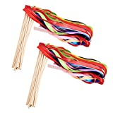 WANDIC Chromatic Silk Ribbon Bells, 35 Pcs Ribbon Wands Mix Color Fairy Stick Wish Wands for Wedding Party Activities