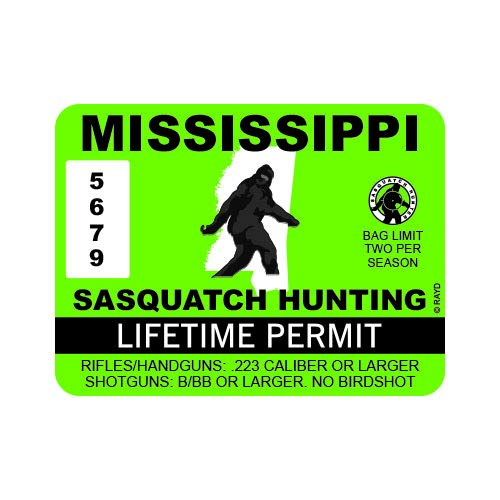 "RDW Mississippi Sasquatch Hunting Permit - Color Sticker - Decal - Die Cut - Size: 4.00"" x 3.00"""
