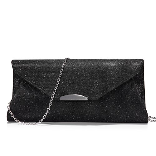 Chain with Envelope Clutch Party Wedding for Strap Women Purse Glitter Flap Handbags Black Evening for Bag zTvxnqTw6