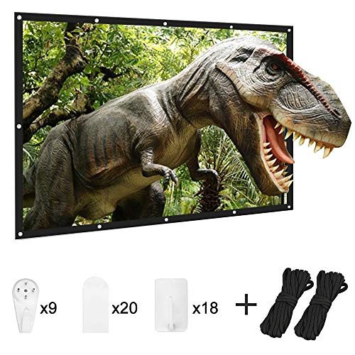 Projector Screen, TESCO Portable Movie Screen 120 Inch Indoor Projection Screen Thickened 16:9 4K Double Sided Projection with Hooks Rope Easy Install Outdoor Projector Screen for Home Theater Camping