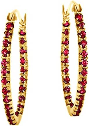 Red Ruby July Birthstone Oval Hoop Earrings In 14K Gold Over Sterling Silver
