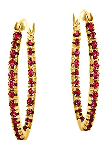 Red Ruby July Birthstone Oval Hoop Earrings In 14k Yellow Gold Over Sterling Silver