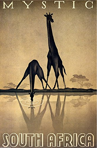 A SLICE IN TIME Mystic South Africa Giraffe Giraffes Vintage Travel Advertisement Art Poster Print. Poster measures 10 x 13.5 inches