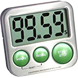 eTradewinds eT-25 Stainless Steel Digital Kitchen Timer with Magnetic Back, Kickstand, Loud Alarm, Large Display, Auto Memory and Auto Shut-Off - Lime