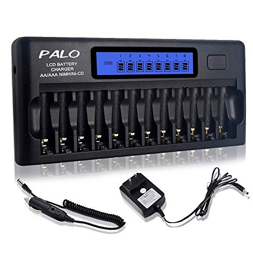 PALO 12 Bays Smart Battery Charger,AA,AAA,Ni-MH,Ni-CD Rechargeable Batteries Charger with Intelligent LCD Display & Discharging and Built-in IC Protection