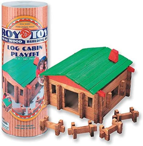 GRANITE MOUNTAIN PRODUCTS Log Cabin Building Toy Set with Farm Animals 140 Piece All Wood Log Cabin Building Set with 12 Farm Animal Figures