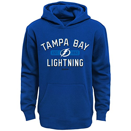 OuterStuff NHL Tampa Bay Lightning Boys Kids Todays Highlights Fleece Hoodie, Medium/(5-6), Royal Lightning Fleece Hoodie