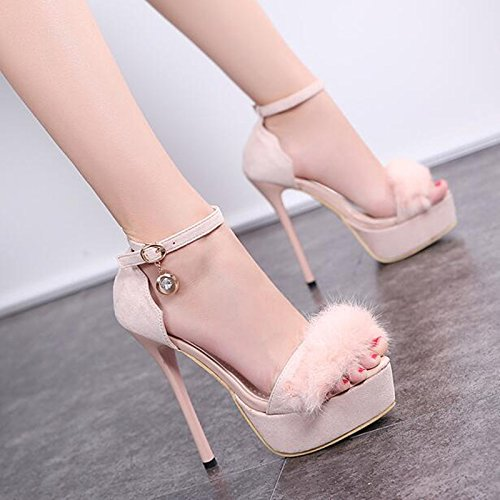 Help Drill GTVERNH 14Cm Thin Buckles Princess Plataforma Heel negro Super Night Impermeable Sandalias Water High Low Heels Toes Summer qAf0fxXwr
