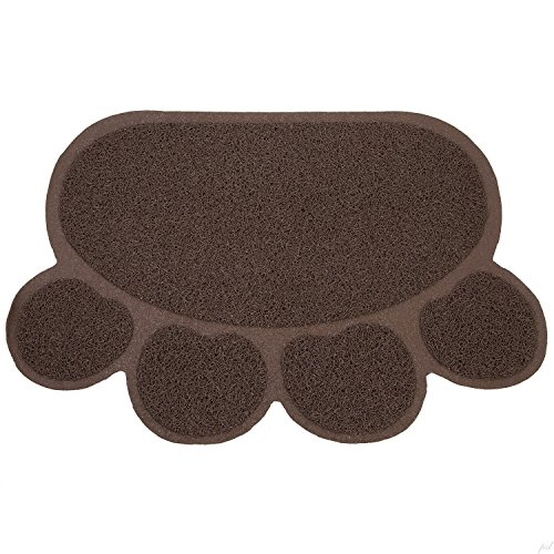 Pet Cat litter Mat,WONFAST Waterproof PVC Paw Shaped Cat Litter Trapper Mat,45 x 60CM (Coffee)