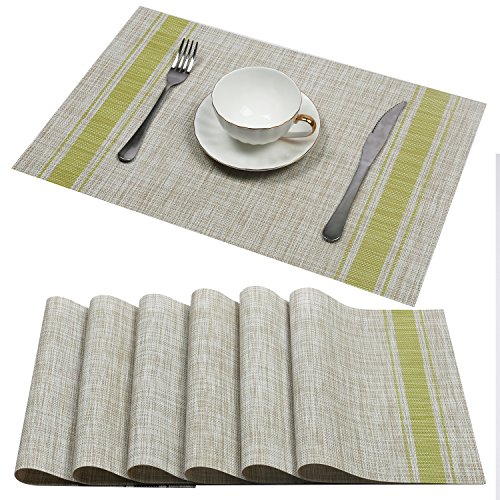 U'Artlines Set of 6 Placemats,Placemats for Dining Table,Heat-resistant Placemats, Stain Resistant Washable PVC Table Mats,Kitchen Table mats (Placemats 6pcs, A Green)