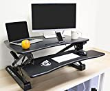 36'' Adjustable Height Standing Office Desk with Anti-fatigue Mat | Stand Up Computer Workstation with Keyboard Tray and Free Standing Pad