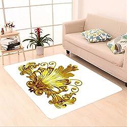 Sophiehome skid Slip rubber back antibacterial Area Rug golden ornamental segment 239597479 Home Decorative