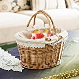 Willow Portable Storage Basket Fruit Flower Basket Easter Basket Gift Basket Wicker Woven Picnic Basket Rectangular/Oval Willow Basket with Double Folding Handles and White Fabric Lining (B)