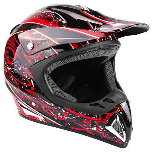 Typhoon Adult Dirt Bike Helmet ATV Off Road ORV Motocross Helmet DOT Motorcycle Red (Medium) ()