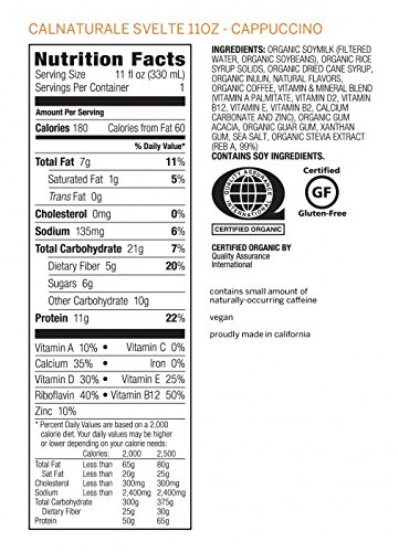 CalNaturale-Svelte-Organic-Protein-Shake-Cappuccino-11-Ounce-Pack-of-8