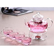 DecentGadget® 600ml Glass Filtering Teapot High Heat Resistant Borosilicate Glass Cups with Teapot Warmer and Tealight Candle (teapot+4 cups+rounded warmer)