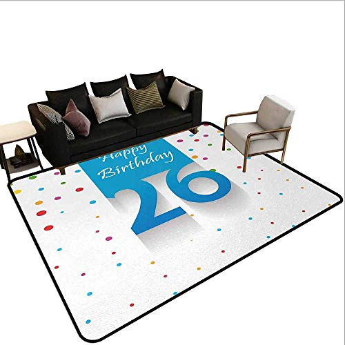 AlEASYHOME Collection Area Rug, New Age Theme Anniversary Surprise Party Polka Dots Colorful Spots Art Design, 3′x3.9′ Ideal Anti Slip, Multicolor