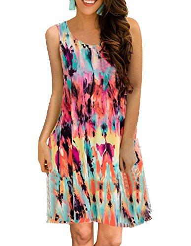(Women's Summer Sleeveless Damask Tunic Top Casual Floral Print T-Shirt Midi Dress with Pocket for Legging (Medium, Multi)