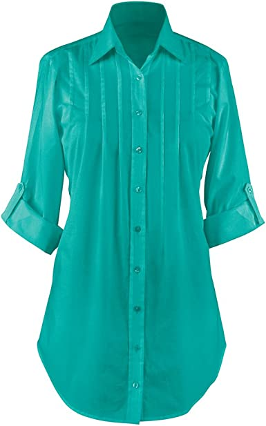 Collared Button Down Shirt Roll Sleeve Pleated Tunic For Any Occasion At Amazon Women S Clothing Store