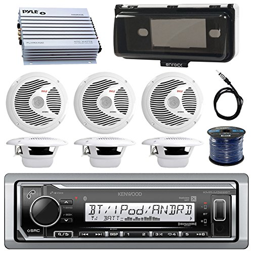Kenwood Marine Digital Media Bluetooth Receiver, 6x Pyle 6.5'' Marine Speakers (White), Single Din Dash Protector, 50 FT 16-G Tinned Wire, 4 Channel Waterproof Amplifier, (Basket Tinned Wire)