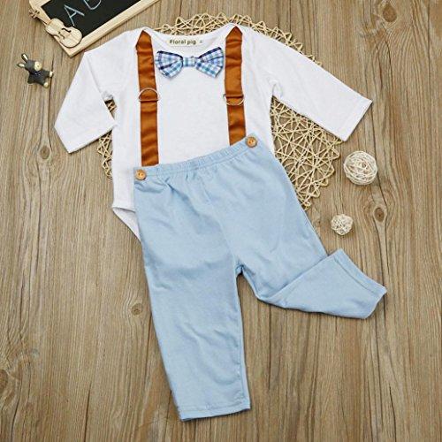 Saingace Garçon Bowknot Manche longue Romper + Un pantalon Outfits Ensemble Vêtements (Label Size:70(0-6mois))