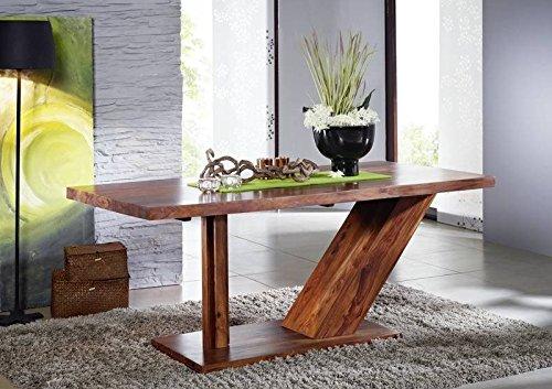 Sheesham Massivholz massiv Möbel lackiert Säulentisch 240x100 Palisander Möbel massiv Holz walnuss Duke #135