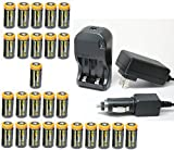 Ultimate Arms Gear 26pc CR123A 3V 1200 mAh Lithium Rechargeable Batteries Battery Charger Kit Universal 110/220V Rapid Wall Outlet & 12V Car Lighter Plug Adapter