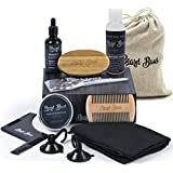 Beard Grooming & Trimming Kit | Beard Brush & Comb, Unscented Beard Oil, Shampoo, Mustache & Beard Balm, Stainless Steel Barber Scissors, Apron & More | Mens Gift Set for Styling, Shaping, Growth