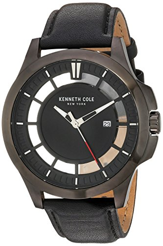 Kenneth Cole New York Men's Transparency Stainless Steel Japanese-Quartz Watch with Leather Calfskin Strap, Black, 22 (Model: 10029297)
